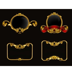 Vintage emblem set on black vector image
