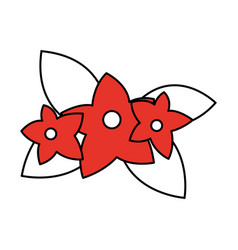 white and red silhouette of cartoon flowers with vector image