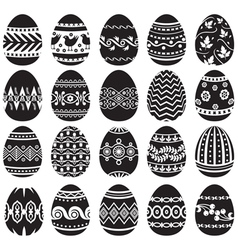 easter egg set black vector image