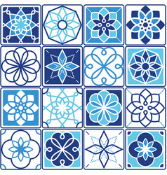 portuguese azulejo tiles design seamless geometri vector image vector image