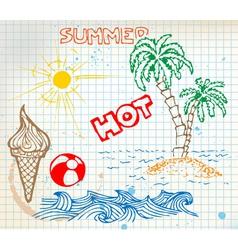 summer doodle vector image vector image