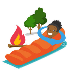 African-american woman sleeping in a sleeping bag vector