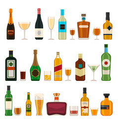 alcoholic bottles and glasses alcohol cocktail vector image