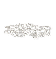 Ancient city with old buildings of oriental vector