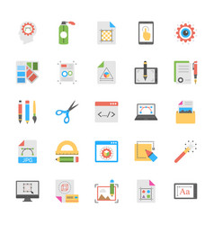 art and design flat icons set vector image