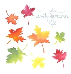 Autumn maple leaves watercolor imitation in vector