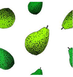 Avocado pattern hand drawn green vector
