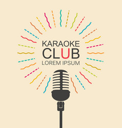 banner for karaoke club with microphone vector image