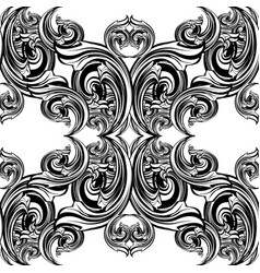 baroque black and white seamless pattern damask vector image