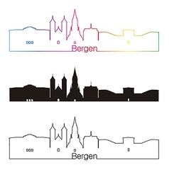 bergen skyline linear style with rainbow vector image