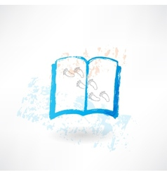 Book and footprints grunge icon vector image vector image