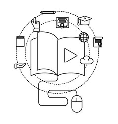 book with mouse vector image