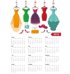 Calendar 2016 yearColored summer dresses vector