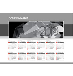 Calendar blank template for 2019 year vector