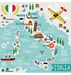Cartoon Map of Italy vector