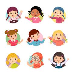 cartoon set different girl kids vector image