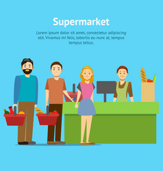 cartoon shopping in supermarket people card poster vector image