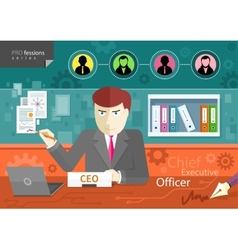 Chief executive officer sitting at table in office vector