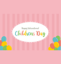 Childrens day with pink background vector