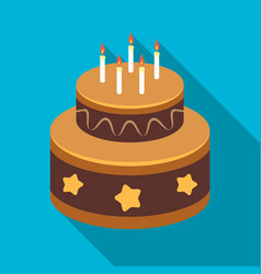 Chocolate cake with stars icon in flate style vector