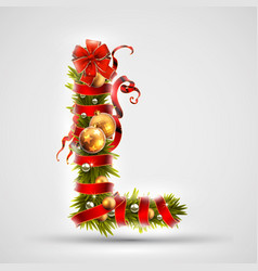 christmas font letter l of christmas tree vector image