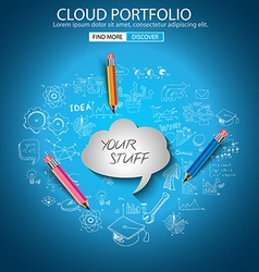 Cloud Portfolio concept with Doodle design style vector image