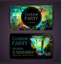 Cocktail mojito on artistic polygon watercolor vector