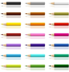 Collection of colored pencils on white background vector