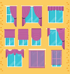 Collection various window treatments curtains vector