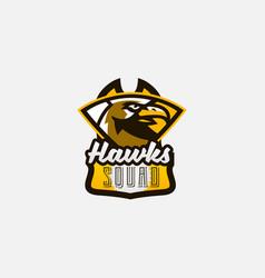 colorful logo sticker emblem a hawk head vector image