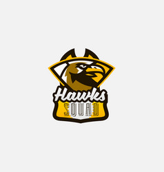 colorful logo sticker emblem of a hawk head vector image