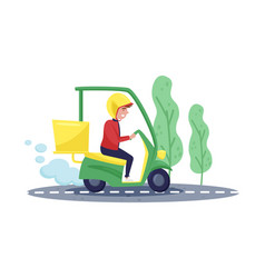 courier riding on scooter express delivery young vector image