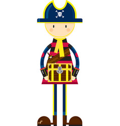 Cute cartoon pirate captain with treasure vector