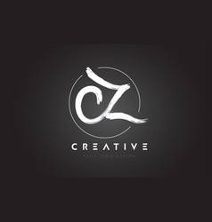 cz brush letter logo design artistic handwritten vector image