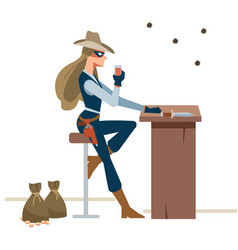 dangerous cowgirl sits drink in salon bar vector image
