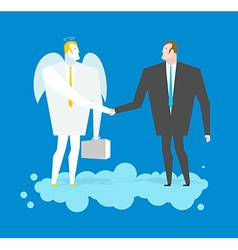 Deal with Angel Businessman and cherub make deal vector