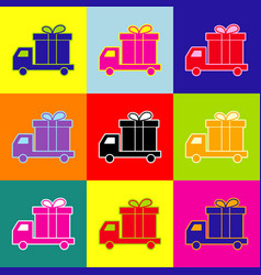 delivery gift sign pop-art style colorful vector image