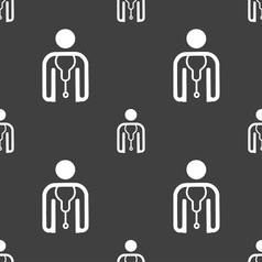 Doctor icon sign Seamless pattern on a gray vector