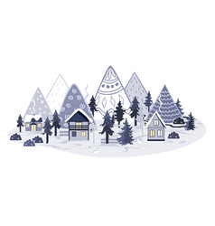 doodle cartoon mountains landscape with houses and vector image