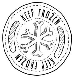 doodle label keep frozen vector image