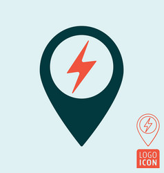 Electric car charging station map pin icon vector