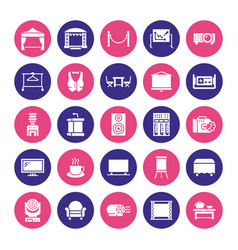 Event supplies flat glyph icons party equipment vector