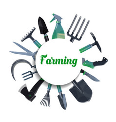 Farming and gardening tools agriculture equipment vector