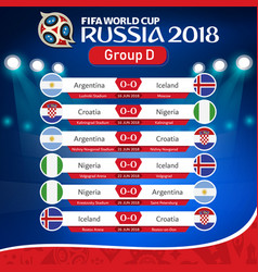Fifa world cup russia 2018 group d fixture vector