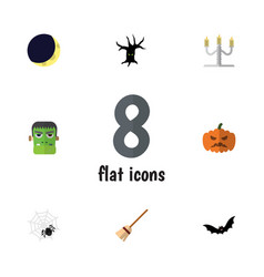 Flat icon festival set of pumpkin candlestick vector