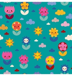 flowers and clouds nature pattern vector image