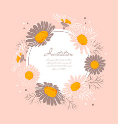 flowers wedding invitation chamomile background vector image