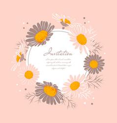 flowers wedding invitation chamomile background vector image