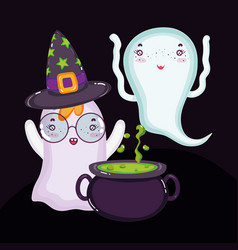 ghosts with hat and cauldron halloween vector image