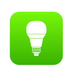 Glowing led bulb icon digital green vector